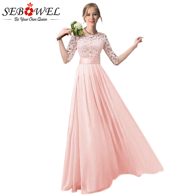 SEBOWEL Elegant Chiffon Lace Pleated Long Party Dress Women Plus Size Lace  Dress Floor Length Gowns 283acb42d629