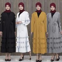 turkish dresses abayas for women abaya dubai Muslim Maxi Dress Trumpet Sleeve Abaya Long Skirt Robe Gowns Tunic BeltY56