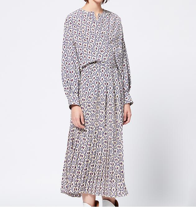 ALEXANDRA DRESS Long printed Wrap silk dress with Pleats waist belt tied Round Neckk Long Puff