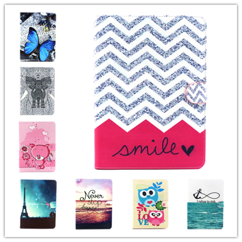 Fashion Painted cartoon owl bear elephant Flip PU Leather sFor Samsung Tab 4 10.1 Case For T530 T531 T535 Smart Case Cover