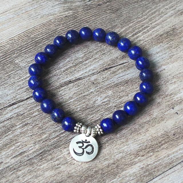 8 MM Lazurite Stone Bracelet Tibetan Buddhism Chakra Mala Bracelet OM Lotus Women Men Beaded Strand Bracelet Handmade Jewelry