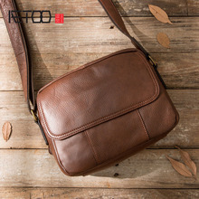 AETOO Genuine Leather Men Bag Casual Business Man Shoulder Crossbody bags Cowhide Large Capacity Travel Messenger bags New dongfang miracle 18 inch genuine leather travel bag casual men handbags cowhide men crossbody bag large capacity luggage bags