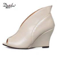 Daitifen Fashion High Quality Peep Toe Wedges Shoes Solid Blue Beige Black Color Women Pumps High