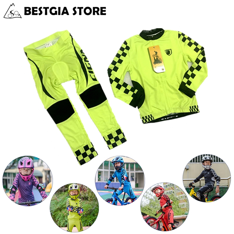 Spor ve Eğlence'ten Bisiklet Takımları'de Çocuklar bisiklet Jersey seti uzun kollu nefes erkek kız bisiklet takım elbise Ropa Ciclismo UV koruma çocuk spor giyim Maillot title=