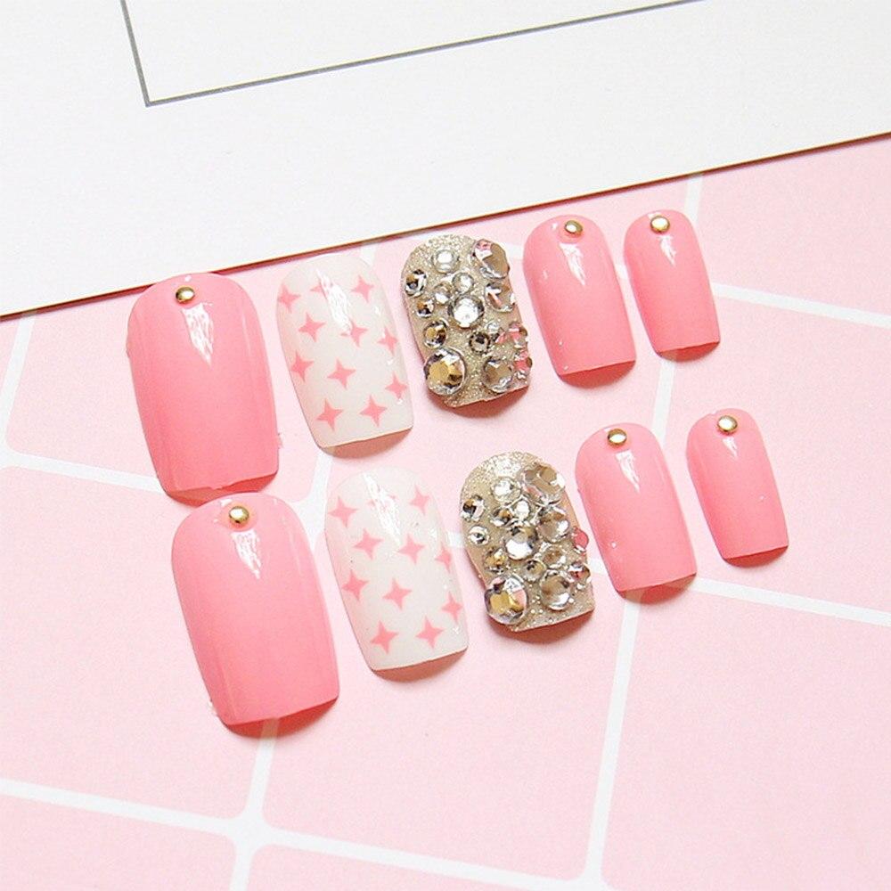 24pcs/Set Pink Star Rhinestone Bride Nail Art Cute Girls Finger Full ...