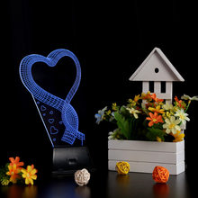 USB Colorful Night Light 3D LED Lamp Light Loving Heart Colorful Night Light for Wedding Deco Innovative Christmas Gift Present(China)