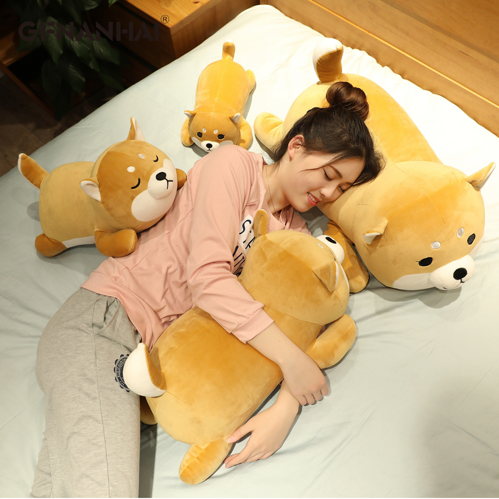 New Arrival 35-75CM Cute Corgi & Shiba Inu Dog Plush Toys Kawaii Lying Husky Pillow Stuffed Soft Animal Dolls Children Baby Gift