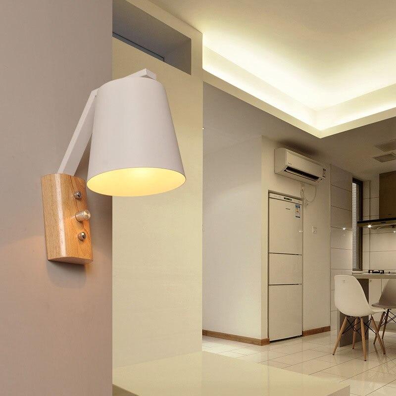 US $36.56 25% OFF Nordic Holz Wand Lampen Schlafzimmer Nacht Lesen Licht  Moderne LED Wand Lichter E27 AC110 240V Mit Schalter auf Lampe Innen ...