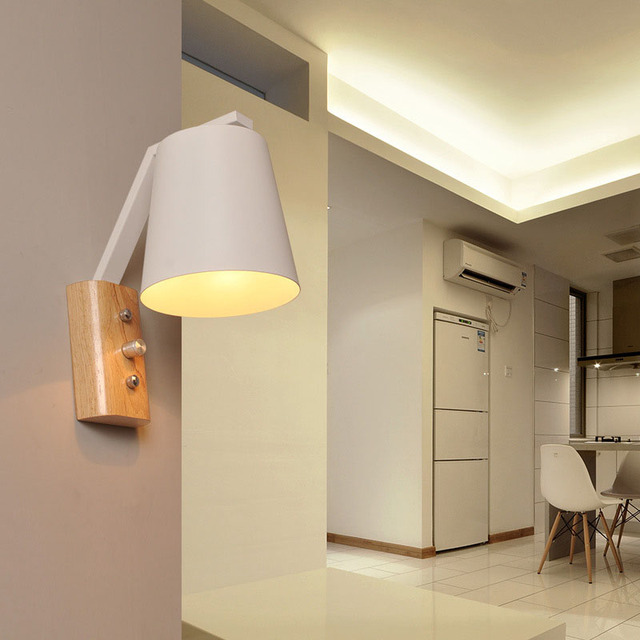 Nordic Hout Wandlampen Slaapkamer Nachtkastje Leeslamp Moderne LED ...