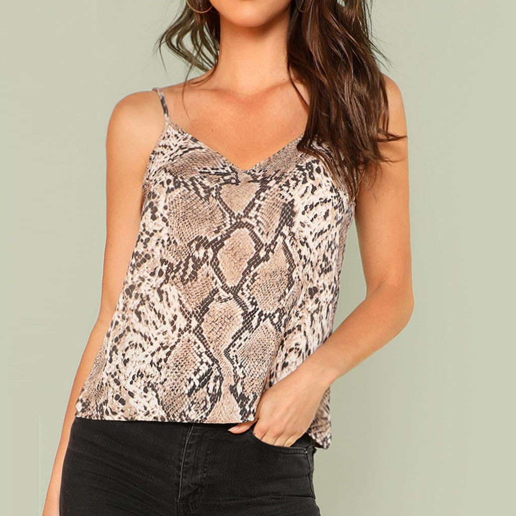 T-Shirt Camis Casual-Straps Snakeskin-Print Party Sexy Night Summer-Style Plus-Size Women title=