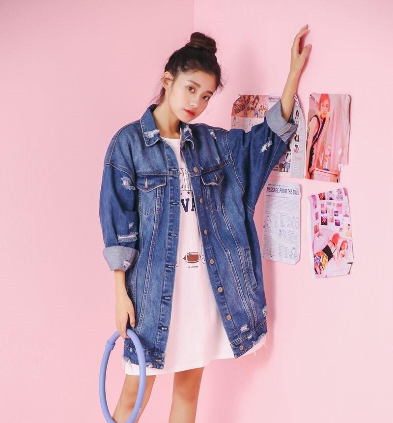 2019 Spring And Autumn Fashion Hole Denim Jacket Loose Large Size Korean Casual Women Oversized Denim Windbr Eaker Sales YH134