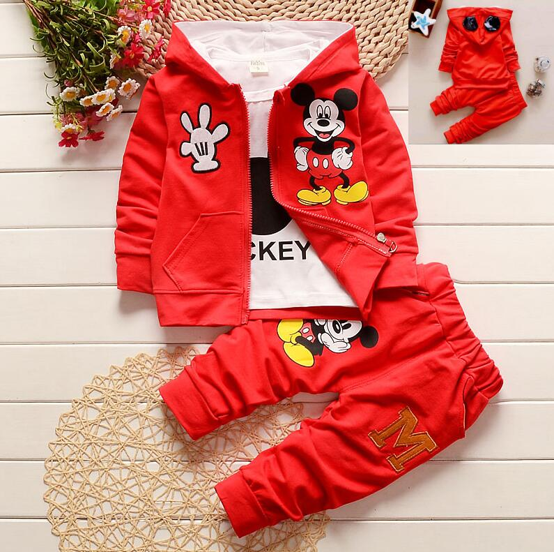 Baby Girl's 3pcs/suit Autumn Children Clothing Set Cartoon Mickey Kids Boys Girls Long Sleeve Coat+Shirt+Pants 3PCS Clothes Set autumn boys clothing set baby boys 3pcs set outfits black jacket long sleeve t shirt denim long pant children clothes boys 4