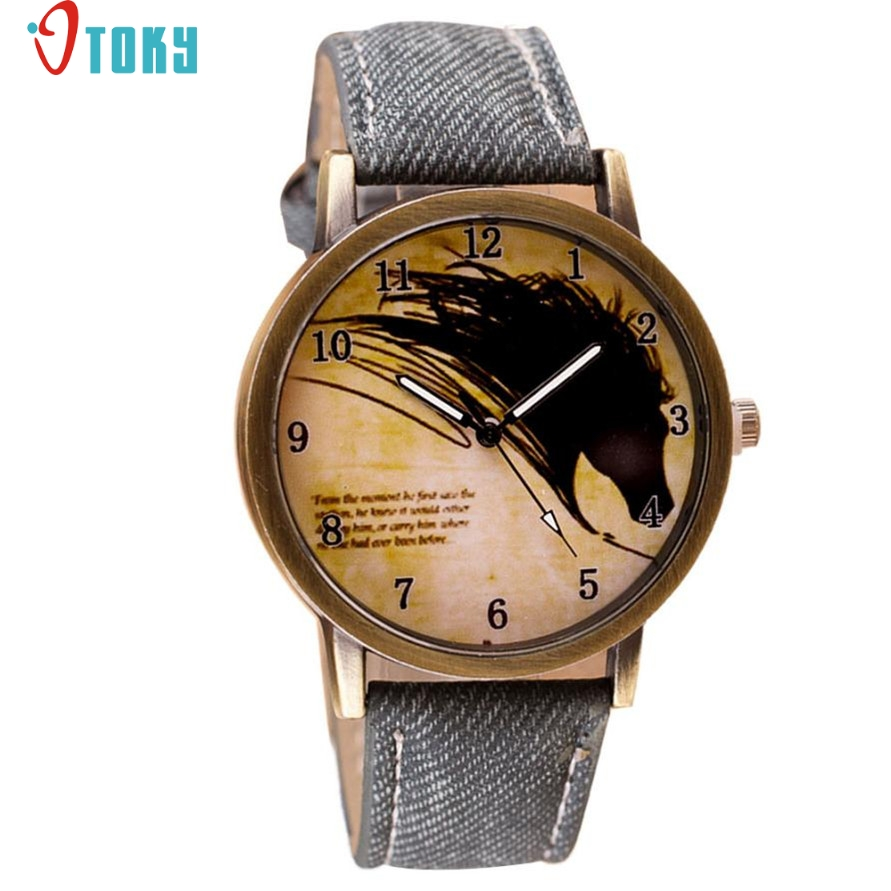 OTOKY Willby Vintage Brief Painting Horse font b Watch b font Quartz Wrist font b Watches