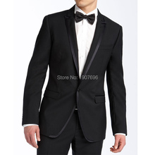 Black Wedding Groom Tuxedo for Men Suits 2018 Two Piece Jacket Pants Peaked Lapel Costume Tailor Made Blazer burgundy slim fit men suits for prom stage wedding groom tuxedo black peaked lapel blazer tailor made 3 piece jacket pants vest