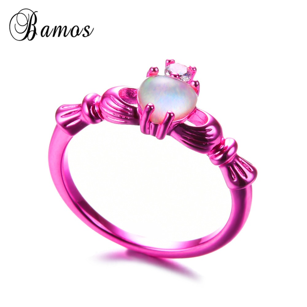 Bamos Romantic White Fire Opal Heart Rings For Women Vintage Zircon ...