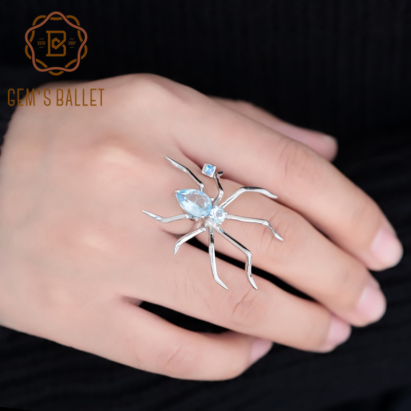 GEM'S BALLET Spider Shape Natural Sky Blue Topaz Ring 925 Sterling Silver Gemstone Animal Punk Rings For Women Party Funny Gifts