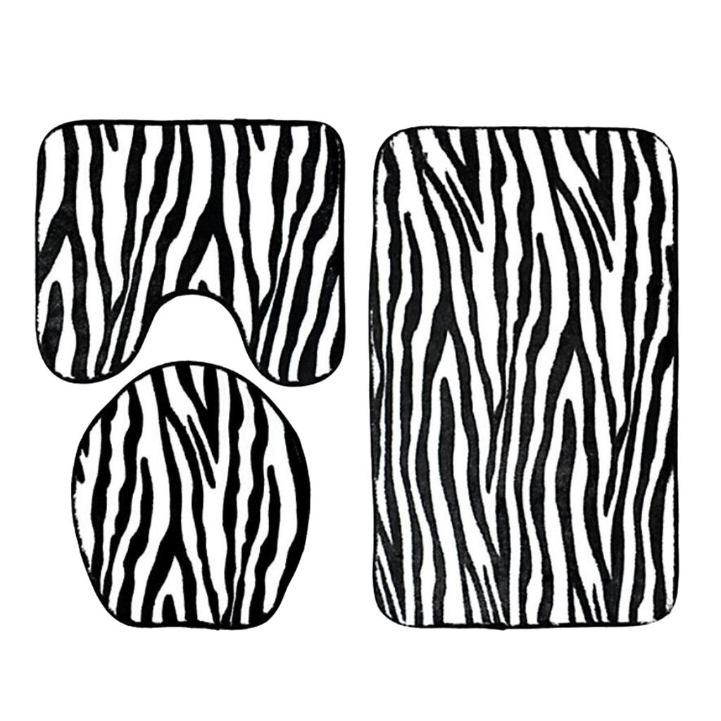 3 Pieces Flannel Toilet Lid Absorbent Floor Rug Carpet Non Slip Bathroom rug set Bath Mat Bathroom Rug Set Zebra Stripe