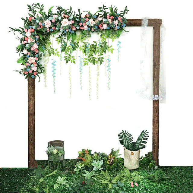 Flone Customize Artificial Flower Row Wedding Decor Rose Flowers Row Silk Road Cited Flowers Arched DIY Background Flower Wall