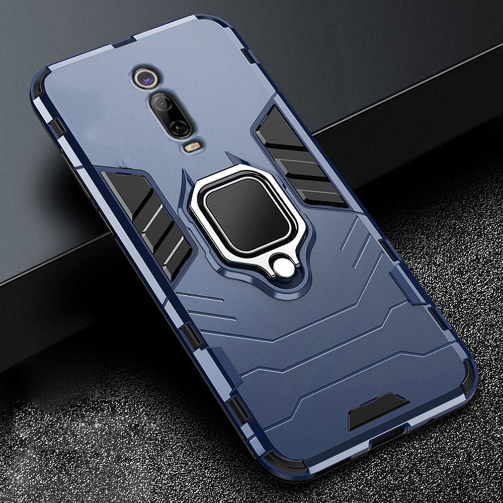For Xiaomi Mi 9T 9 T Pro Case Armor PC Cover Metal Ring Holder Phone Case For Redmi K20 K 20 Pro Cover Shockproof Durable Bumper(China)