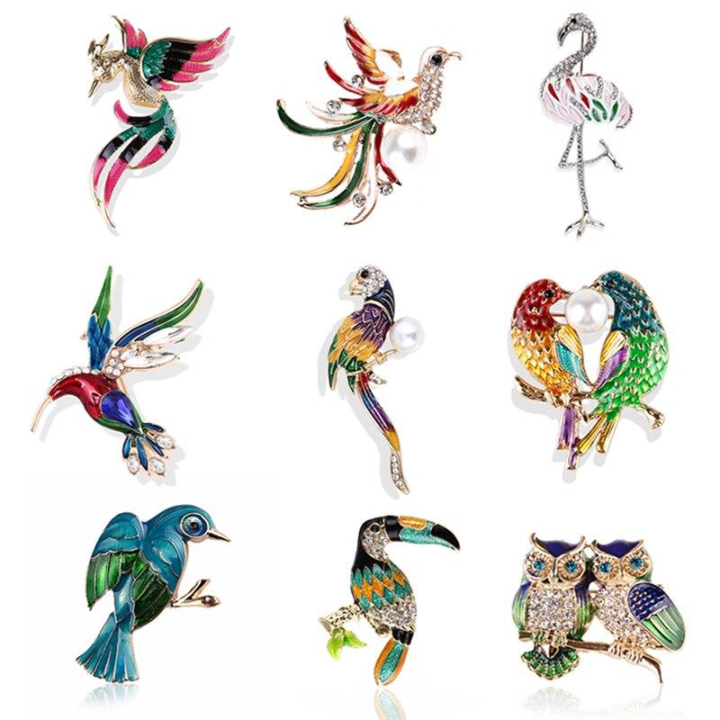 Enamel Crystal Brooch Pins For Women Bird Phoenix Owl Swallow Woodpecker Brooches Jewelry Fashion Wedding Party Bijoux Best Gift