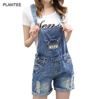 Big Pocket Denim Overalls For Women Rompers With Hole Ripped Jean Shorts Bodysuit Cross Strap Laides