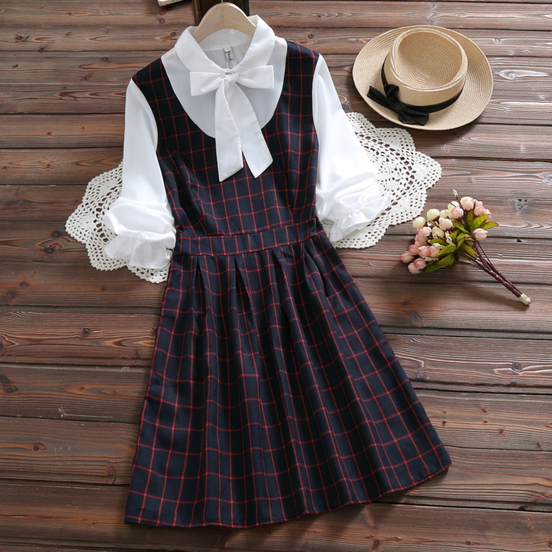 e07d69a84ae 2019 Japanese Preppy Style Spring Women Mini Dress Patchwork Red Green  Plaid Bow School Uniform Elegant Cute Kawaii Girl s Dress-in Dresses from  Women s ...