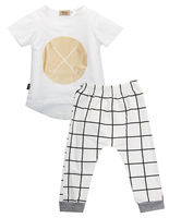 New 2pcs Kids Baby Girls Boys Casual Summer Organic Tops T Shirt Pants Outfits Set Boys
