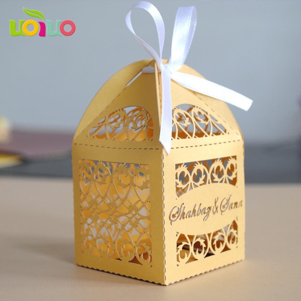 2017 популярный свадебный пользу Golded лазерная резка свадебное box с именем персонализированный логотип