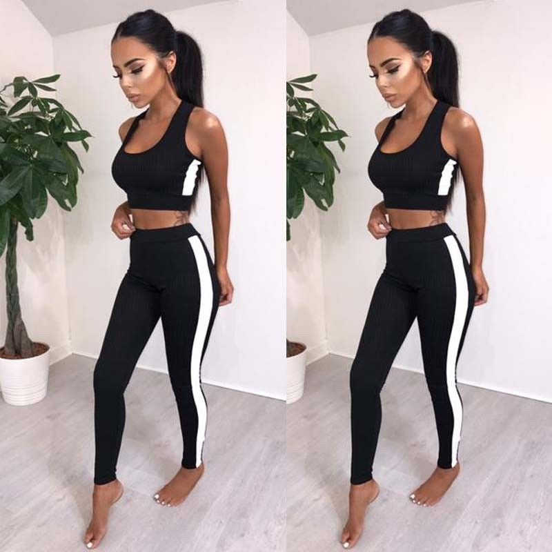 dd3360ad527ab Summer Women Yoga Set Sports Gym Fitness Athletic Tank Crop Top Leggings  Pants Jumpsuit Outfits Sportswear