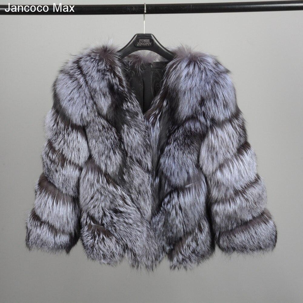 Jancoco Max 2018 новые зимние Для женщин толстый теплый натуральный Лисий Мех Короткое пальто Высококачественная верхняя одежда модная куртка S7149