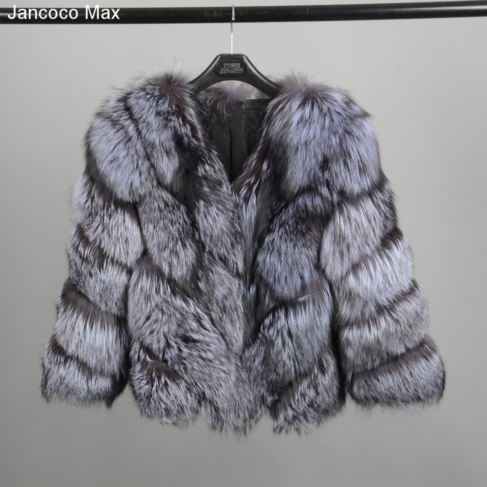 Jancoco Max 2018 Nouveau Chaud Épais de Femmes D'hiver Réel Fourrure De Renard Manteau Court de Haute Qualité Survêtement Mode Veste S7149