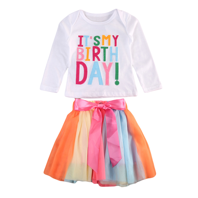 Sweet Baby Girl Kid Toddler ITS MY Birthday T Shirt Tutu Rainbow Skirt Outfit