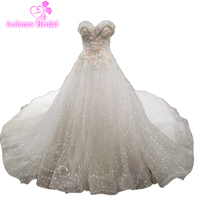 Hot Sale Luxury Soft Tulle Hand Made Flower Off Shoulder Beads Bling Bling Crystal Long Train
