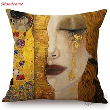 Gallery Art Decoration Cushion Cover Gold Yellow Color Gustav Klimt Oil Painting Kiss Hotel Lobby Home Decor Sofa Throw Pillow