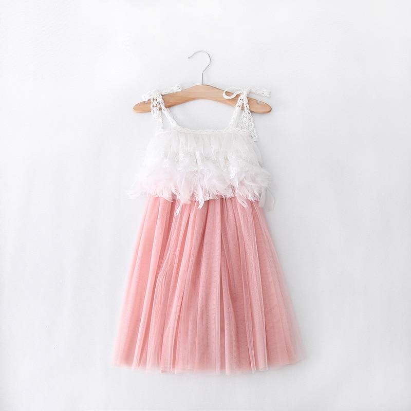 Betere NIEUWE Meisjes Baby jurk Peuter Kant Bretels veer jurk roze wit MY-58