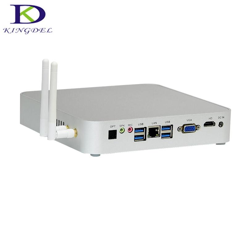 Newest htpc Core i3 5005U Broadwell mini pc with Mute Fan desktop computer WiFi 4 USB