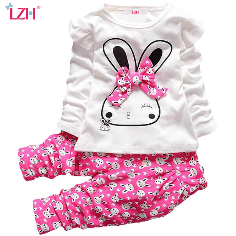 LZH Children Clothes 2017 Autumn Winter Baby Girls Clothes Set Rabbit T-shirt+Pants Outfit Kids Sport Suit Girls Clothing Sets keaiyouhuo newborn baby spring autumn girls clothes set rabbit cotton coat pants 2pcs set kid 0 2y girls pure clothes clothing