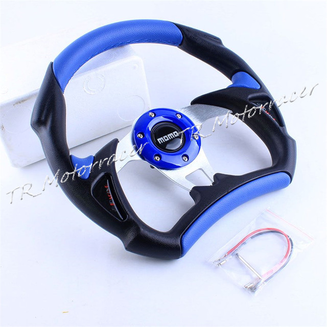Modification Replacement For Universal Car 6-BOLT Racing Steering Wheel PU Leather Sport F1 JDM Auto D03 Blue