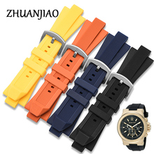 Zhuanjiao High Quality Waterproof rubber Watchband 29 * 13mm Black Blue Orange Diving Silicone strap for mk watch MK9020
