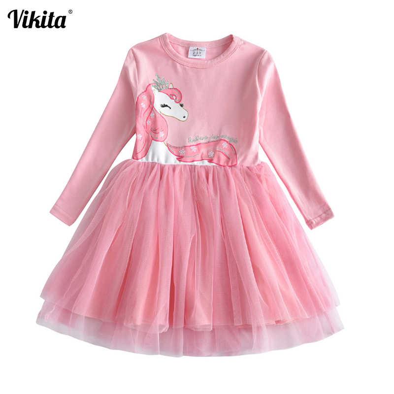 VIKITA الفتيات الأميرة فساتين الاطفال الكرتون Vestidos الأطفال الخريف اللباس الاطفال اللباس للبنات كم طويل يونيكورن فساتين