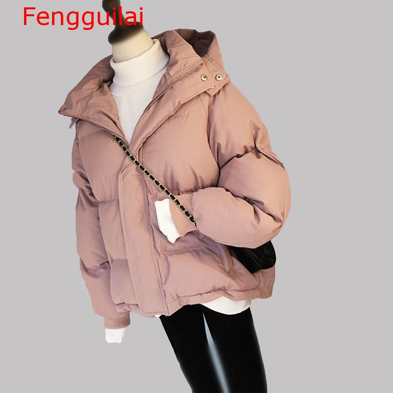 Women 2019 Autumn Winter Jacket Warm Down Cotton Padded Short Parkas Beard Style Fashion Solid Hooded Coats Thick