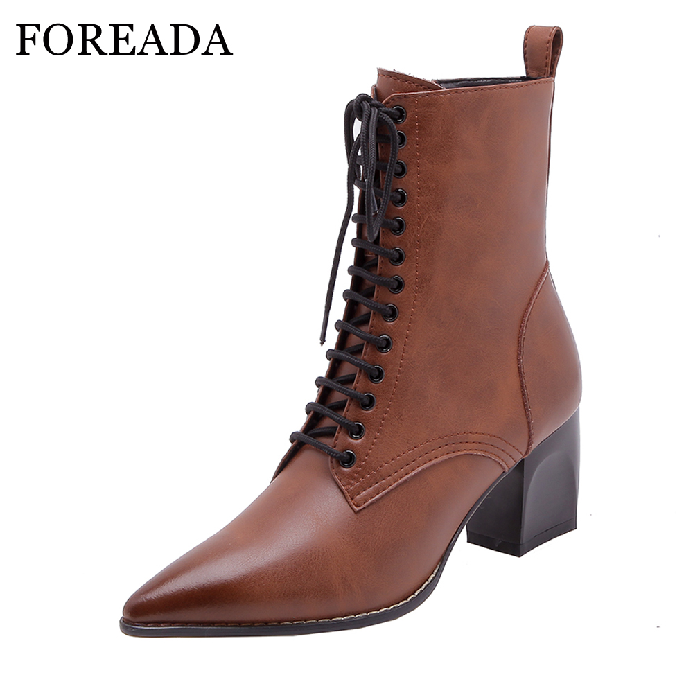 FOREADA Women Natural Leather Boots Pointed Toe High Heel Boots Zipper Fashion Lace Up Motorcyce Boots