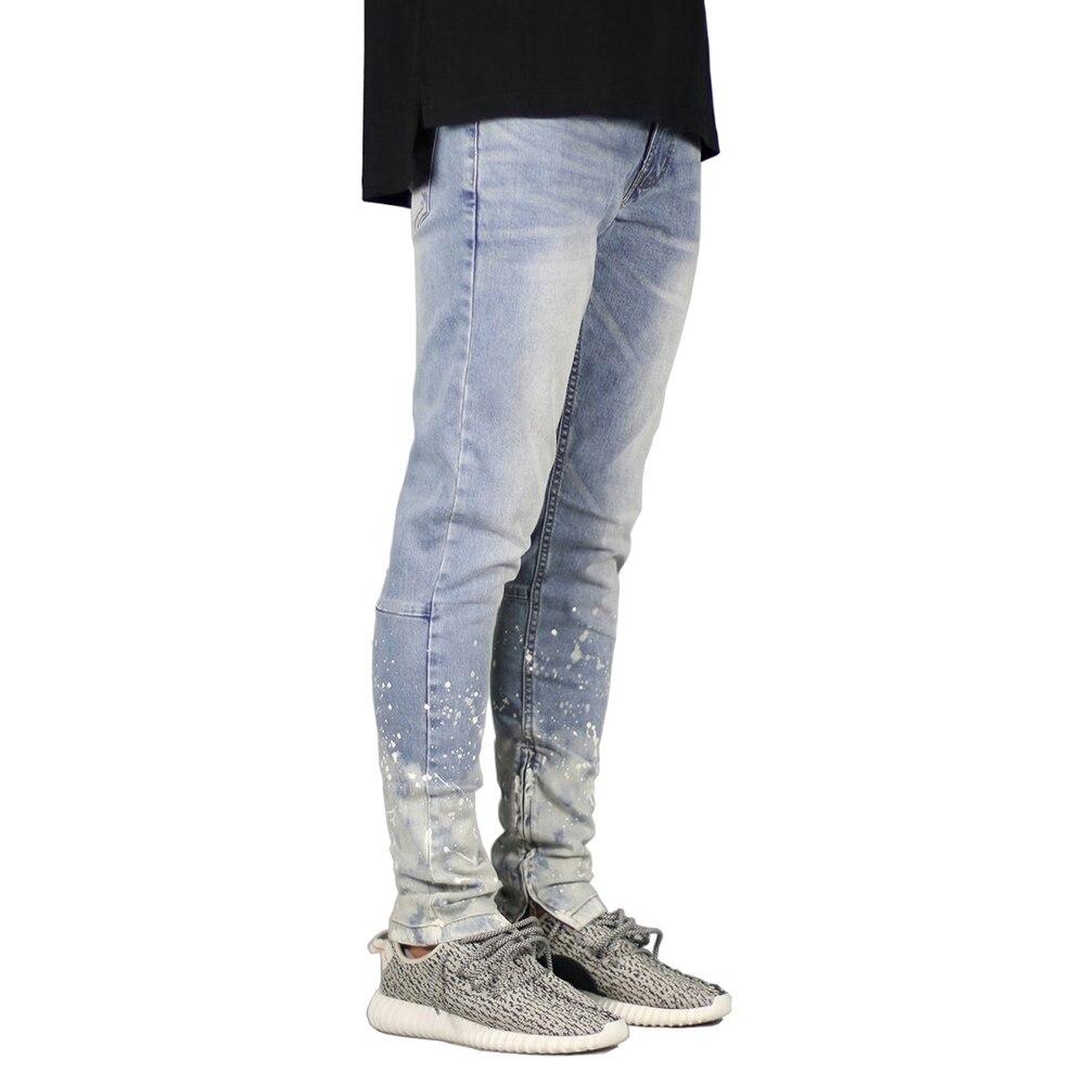 Men Jeans Fashion Stretch Zipper Design Dot Hip Hop Jeans Y5026