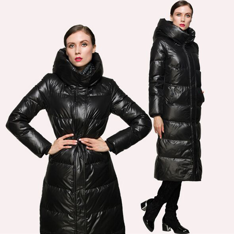 High Quality New Fashion 2018 Winter Women Duck   Down   Parkas Jacket Luxury Ultra Long Thick Warm Zipper Red / Black   Down     Coat