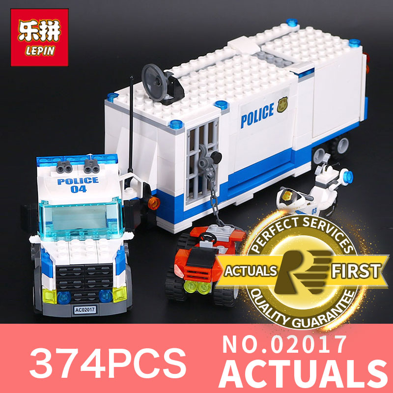 LEPIN 02017 374Pcs City Policemen Series The Moving Command Car Set Children Educational Building Blocks Bricks Toys Model 60139 lepin city town city square building blocks sets bricks kids model kids toys for children marvel compatible legoe