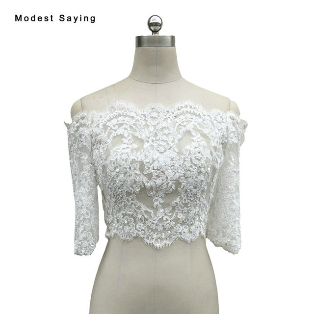 Real Elegant Off the Shoulder Ivory Half Sleeve Beaded Lace Wedding ...