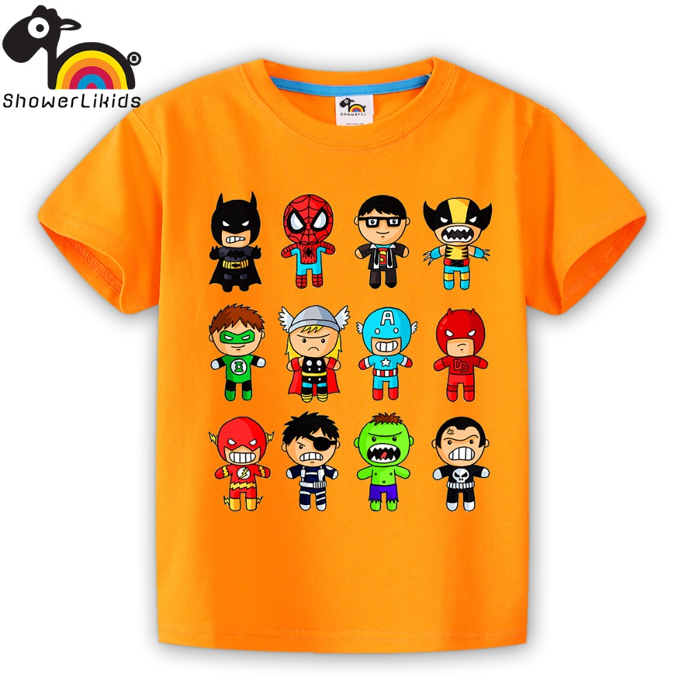 showerlikids High quality cotton short sleeve T-shirt boy and girl children kid clothing colorful Super heroes sPrice Scolor004 high quality colorful flowers and girl pattern removeable wall stickers