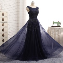 Real Photos Navy Blue Evening Dresses Vestido De Festa Scoop Sleeveless  Vintage Lace Appliques Beaded African Prom Dresses