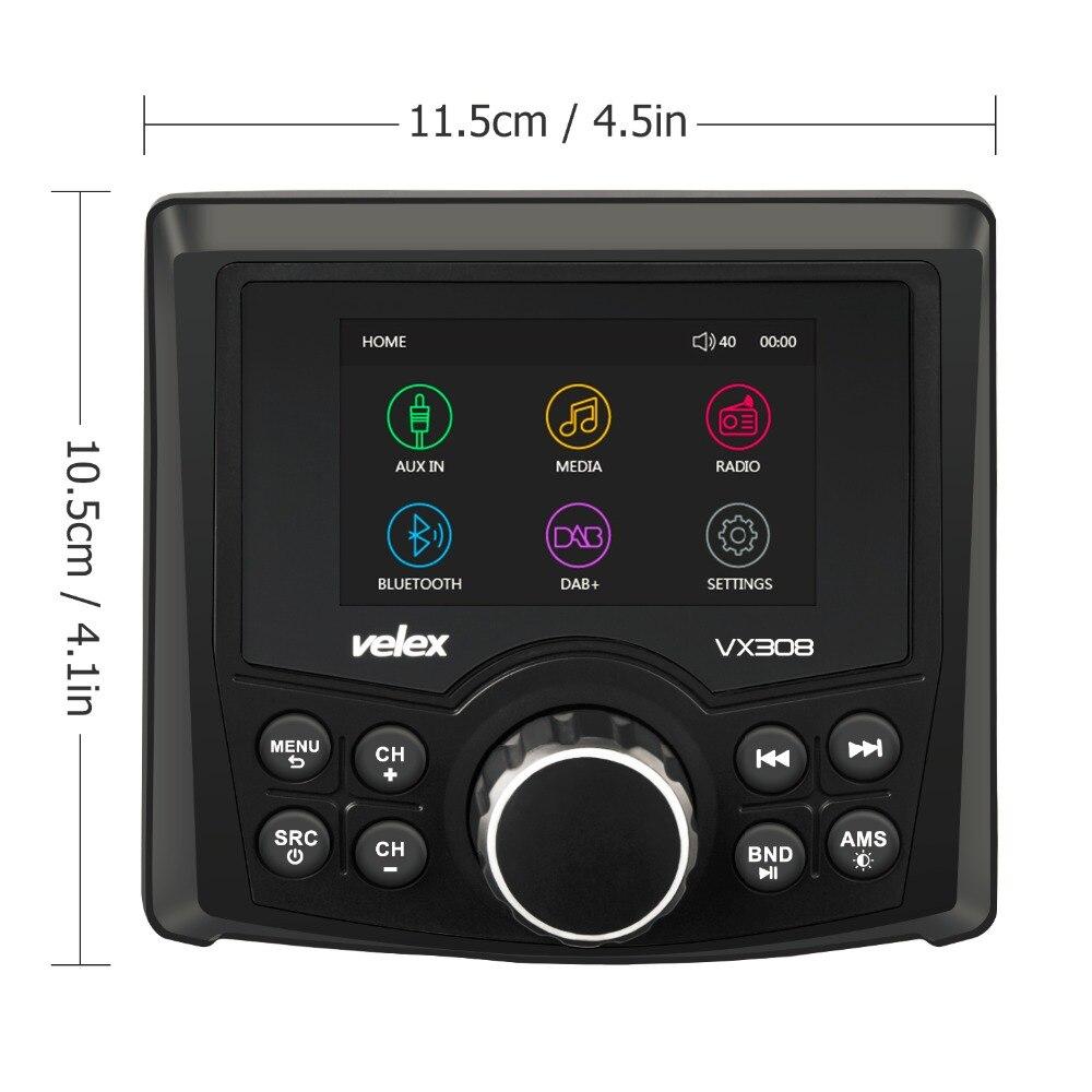 Étanche Bluetooth Numérique Marine Médias Stéréo Récepteur avec Audio/Vidéo lecteur DAB + AM FM Streaming Musique Bateau UTV ATV Spa