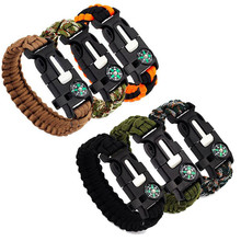 Survival Bracelet For Men Multi-function Outdoor Camping Rescue Parachute Cord Compass Bracelets Bangles Wristband Emergency Kit